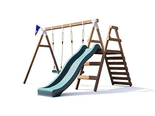 Dunster House Wooden Swing Set Wave Slide Kids Outdoor Garden ...