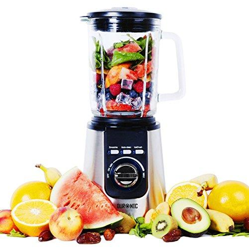 Duronic BL1200 Electric Blender | Stainless-Steel Ninja Sharp Blades | 1.8 Litre Tritan Jug | Powerful 1200W Motor | Auto-Clean Function | Makes Smoothies, Shakes, Soups, Sauces, Crushes Ice