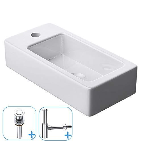 Durovin Bathrooms Ceramic Cloakroom Sink | Wall Hung Mount | One Left Hand Tap Hole Wash Basin Plus in-Push Round Pop Up Waste Plug and Round Bottle Trap