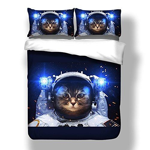 Duvet Cover Sets 3D Space Cat Cartoon Animal Printed Blue Bedding Set for Adults Kids Boys Double King Size (220x240cm)