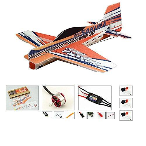 DW Hobby 3D Aerobatic Plane, SAKURA Remote Control Foam Glider RC Plane Flying Model Airplane, DIY Aircraft Unassembled KIT to Build for Indoors/Outdoors Flight Toys (E0114)