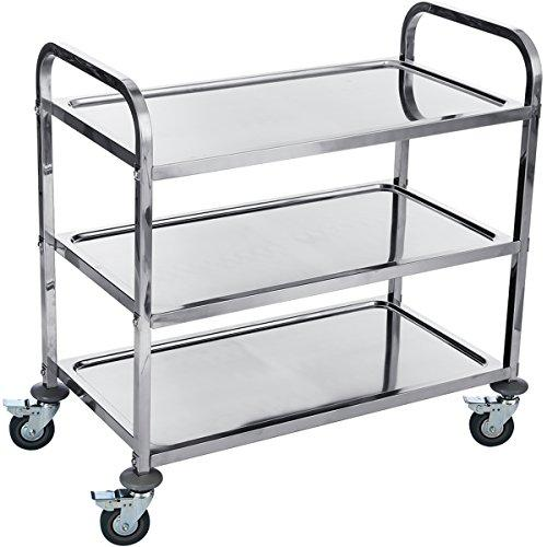 DXP Catering – YKF-L3 Serving Trolley with 3 Shelves – Stainless Steel, 50 x 95 x 95 cm