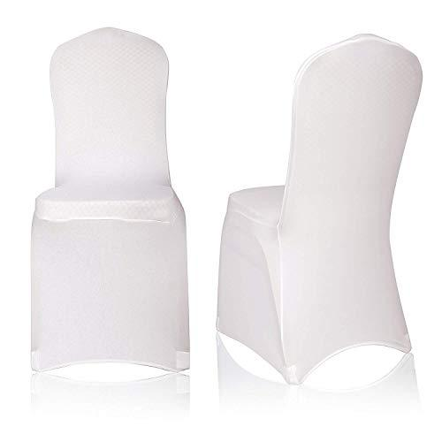 E-MART EMART 50pcs Polyester Spandex Ivory Chair Covers Polyester Spandex, Dining Chair Slipcovers for Banquet Wedding Party