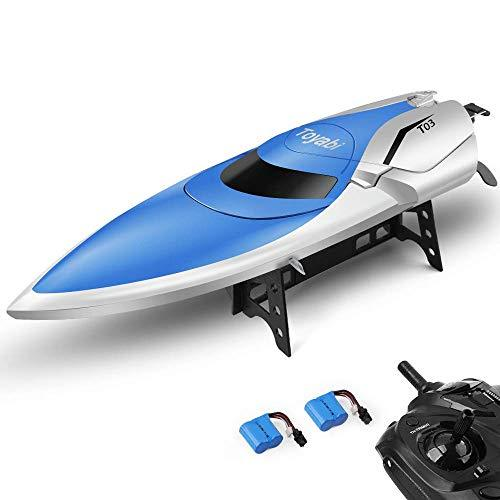 E T RC Boat, Remote Control Boat for Pools and Lakes 2.4GHz High Speed RC Racing Boats for Adults Kids Bonus Battery(Bluewhite)