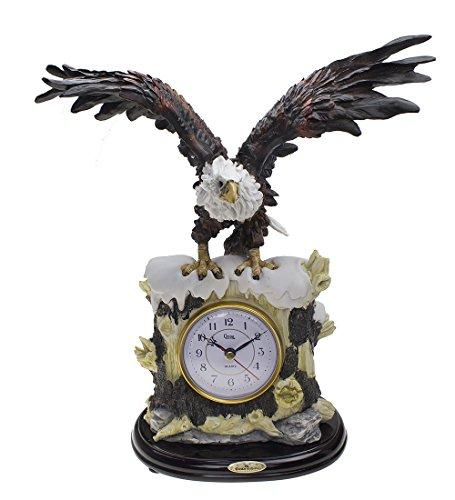 Eagle Clock, American Bald Eagle Patriotic Sculpture Decorative Figurine Mantel Table Clock for Table Desk Home Decor