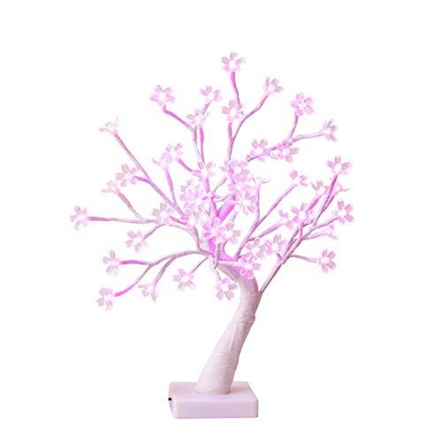 "EAMBRITE 18"" Cherry Blossom Flower LED Bonsai Tree with 48 LED Pink Lights for Valentine's Wedding Living Room Bedroom Party Home Decor"