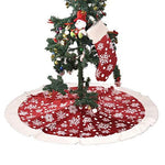 Eanpet Christmas Tree Skirt Fur Xmas Tree Skirts Mat Pure Faux Round Carpet for Home Party Decorations Ornaments (Snowflake Red White 48 Inch)