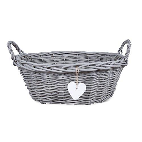 Eared Grey Painted Matte Wicker Display Gift Hamper Bread Decoration Basket