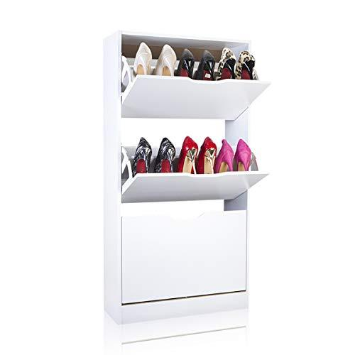 EASEASE Shoes Cabinet 3-tier Shoes Cupboard Rack for Hallway Shoes holder Shoes Storage Wooden Furniture Unit Cabinet with Flip-up Doors (White, 3)