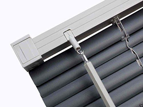 Easy-Fit PVC Venetian Window Blinds Trimmable Home Office Blind New (Slate Grey (Contrast), 180cm x 150cm)