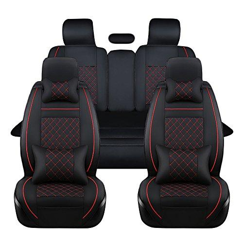 ECLEAR 9pcs Full Set PU Leather Front&Rear Seat Cover Anti-Slip Deluxe Automotive Cushions Seat Universal Fit 5 Seats Vehicles Cars SUV - Black&Red