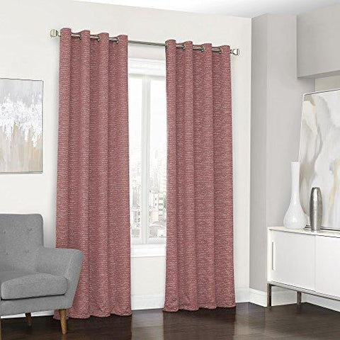 "Eclipse Curtains Grommet Single Window Curtain Panel, Coral, 52"" x 84"""