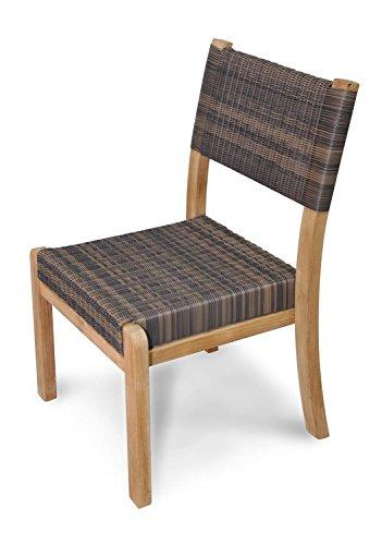 Eco-Friendly Furnishings Set of 4 Natural Finish Teak Outdoor Patio Wood and Wicker Stacking Chair 35""