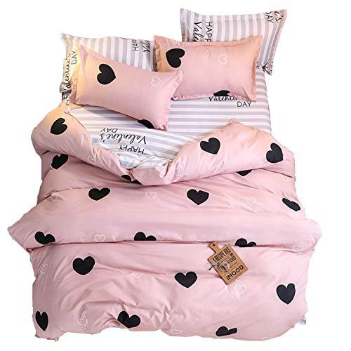 ED-Lumos Dark Salmon Heart Design Duvet Cover Set with 2 Pillowcases for Kids Bedding 4-Piece King Size(No Comforter Included) Valentine's Day