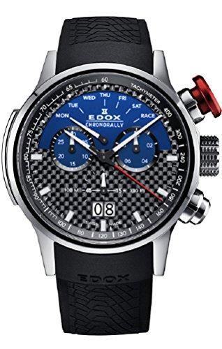 Edox Men's 'Chronorally' Swiss Quartz Titanium and Rubber Sport Watch, Color Black (Model: 38001 TIN1 NBUJ)