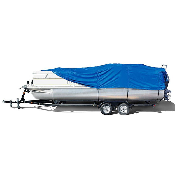 "Eevelle Windstorm Boat Cover for Pontoon Boats with Rails and Outboard Motor, Royal Blue, 33'6"" L x 102"" W"