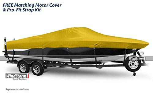 "Eevelle Windstorm Boat Cover for Ski Boats with Low Profile Windshield and Outboard Motor, Yellow, 30'6L x 102"" W"