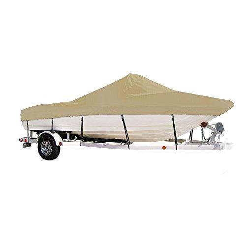"Eevelle Windstorm Boat Cover for V Hull Fishing Outboard Motor Boats with Center Console and Low or No Bow Rails, Khaki, 17'6""L x 90"" W"