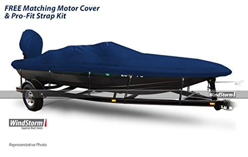 "Eevelle Windstorm Jon Style Bass Boat Cover for Outboard Motor Boat, Navy, 17'6 Length x 84"" Width"