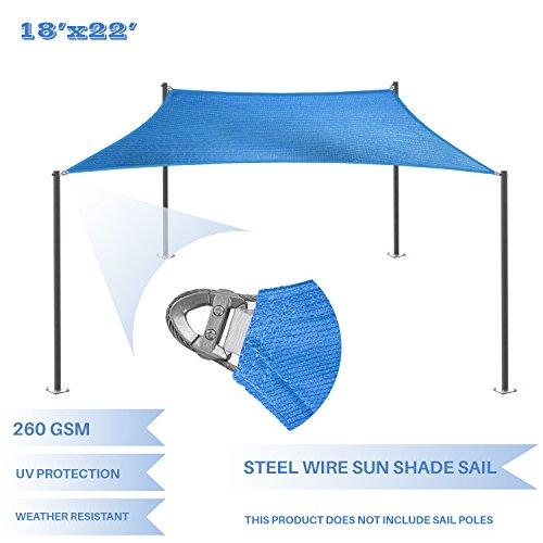 E&K Sunrise Reinforcement Large Sun Shade Sail 18' x 22' Rectangle Heavy Duty Strengthen Durable Outdoor Garden Canopy UV Block Fabric (260GSM)- 7 Year Warranty - Blue