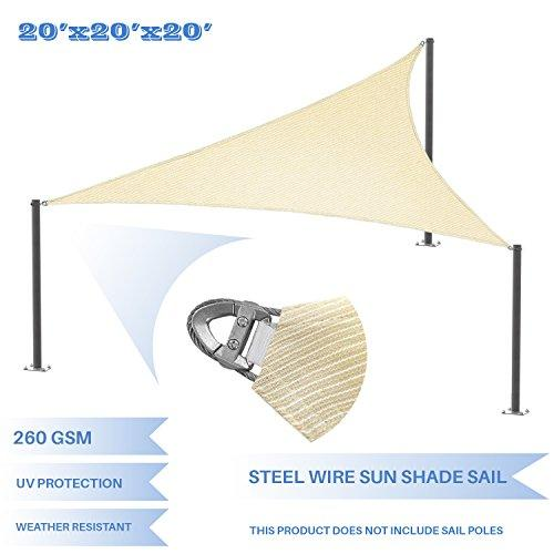 E&K Sunrise Reinforcement Large Sun Shade Sail 20' x 20' x 20' Equilateral triangle Heavy Duty Strengthen Durable Outdoor Garden Canopy UV Block Fabric (260GSM)- 7 Year Warranty - Beige