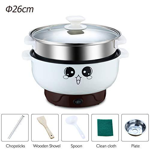 ele ELEOPTION 4-in-1 Multifunction Electric Skillet Non-Stick Stainless Steel Hot Pot Noodles Rice Cooker Steamed Egg Soup Pot Mini Heating Pan Cooking Fried, with Steam Grid, 3.6L(Diameter 26CM)