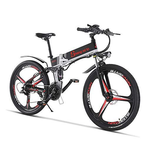 Electric Folding Mountain Bike Mens Bicycle MTB M80 12.8Ah Lithium-ion battery 5 Levels PAS speed High Function Speedometer 50-60 Cycling Range Dual Susepension