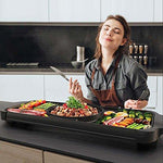 Electric Grill Home Smoke-free Electric Baking Pan Chafing Barbecue Machine Teppanyaki 1500W, 68.8CM*25.5CM,Black