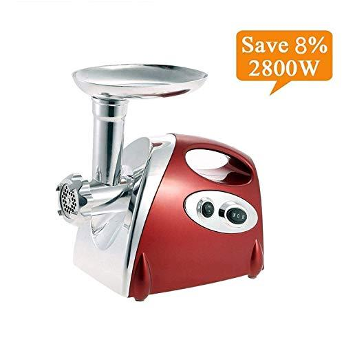 Electric Meat Grinder and Duty Household Sausage Maker Meats Mincer Food Grinding Mincing Machine Powerful Copper Motor (Red)
