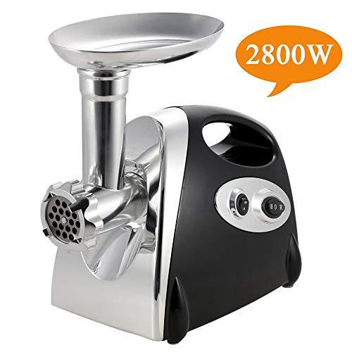 Electric Meat Grinder and Duty Household Sausage Maker Meats Mincer Food Grinding Mincing Machine with Kibbe Attachement – Powerful 2800W Copper Motor(Black)