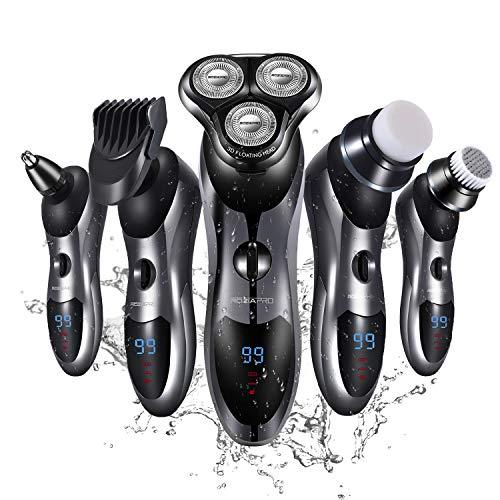 Electric Shaver Razor for Men 5 in 1 Rotary Shaver Beard Trimmer Nose Hair Trimmer Waterproof USB Fast Charging