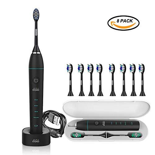 Electric Toothbrush Sonicare, DOXO [New Version] Intelligence Waterproof USB Charging with 4 Mode 12 Gear Diamond-Clean 8 Replacement Brush Heads Soft Bristles and Portable Travel Case - Black