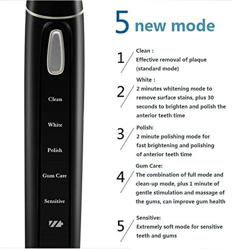 Electric Toothbrush Waterproof Sonic Toothbrush Oral Care Whitening Teeth  USB Fast Charging Electric Toothbrush, 5 Optional Brushing Modes, Built-in