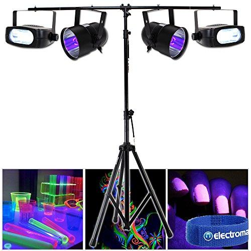 Electromarket 2x Beamz UV Ultraviolet Par Cans Strobe Lights T-Bar Lighting Stand DJ Disco