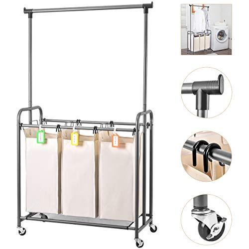 ElevenII Laundry Trolley Laundry Sorter Cart Bin with Clothes Rod Hanging Bar, 3 Durable Detachable Oxford Bags Metal Frame Capacity 130 L(Beige)