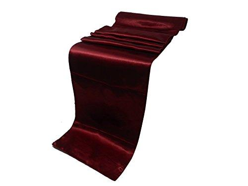 "Elina Home Pack of 40 12"" x 108"" Satin Table Runner, Maroon"