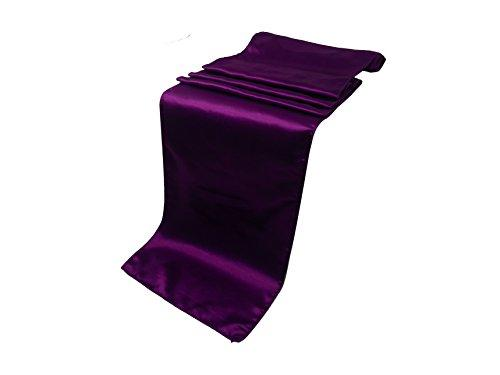 "Elina Home Pack of 50 12"" x 108"" Satin Table Runner, Purple"