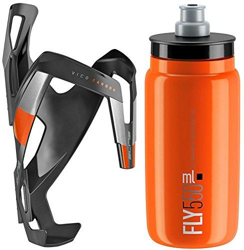 Elite Fly Bottle & Vico Carbon Fibre Cage - Matt Black/Orange Cage & Orange Bottle, 550ml / Bicycle Cycling Cycle Road Bike Drinking Drink Water Flask Bidon Holder Bracket Clip Lightweight Mount
