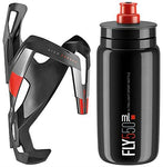 Elite Fly Bottle & Vico Carbon Fibre Cage - Matt Black/Red Cage & Black/Red Bottle, 750ml / Bicycle Cycling Cycle Road Bike Drinking Drink Water Flask Bidon Holder Bracket Clip Lightweight Mount