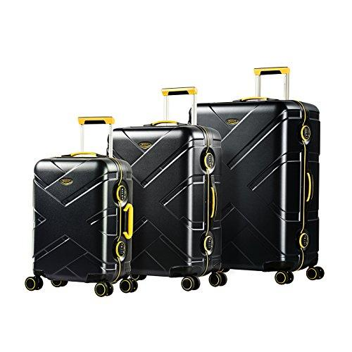 EMINENT Luggage Set Gold Crossover - 3 pcs - Black/Yellow - TSA Lock