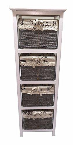 Empire Home Solutions TALL SLIM WOODEN MAIZE DRAWER BATHROOM BEDROOM ORGANISER STORAGE UNIT BEDSIDE CABINET (4 Drawers)