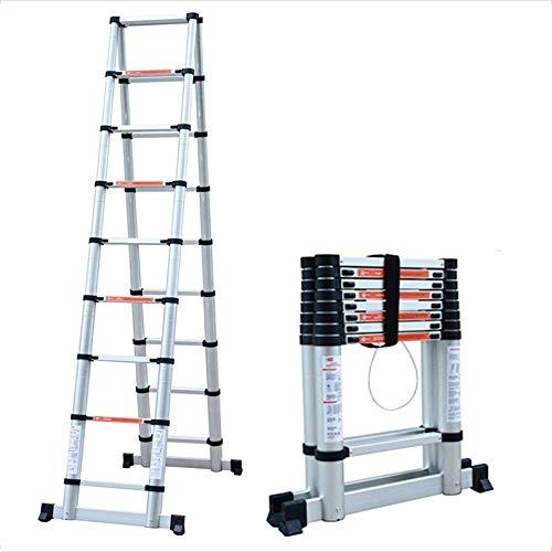 End of the desert Home flat-top herringbone aluminum alloy joint bamboo ladder telescopic lift home climbing ladder multi-functional environment (2m-3.8m) (Size : 3.8m)