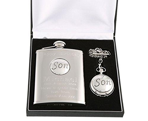 Engraved 40th Birthday Pewter 'Son' Feature Mother of Pearl Pocket Watch and Hip Flask Gift Set