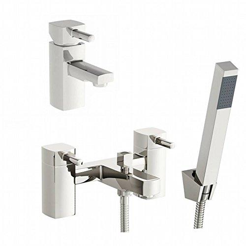 ENKI Square Bath Filler Tap with Shower Head + Mini Basin Mixer Tap Pack DESIRE