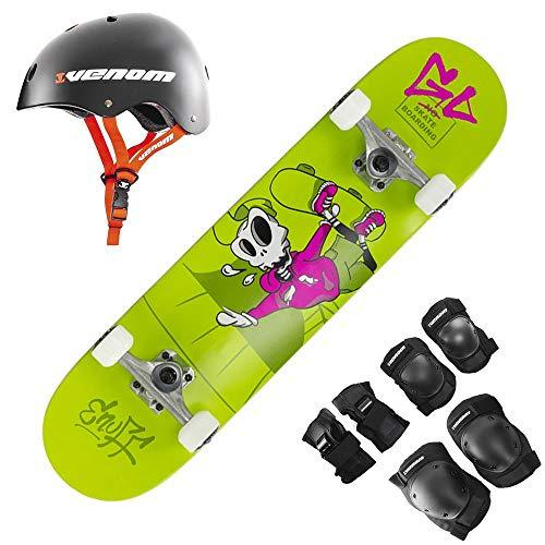 "Enuff Skully Green Junior Complete Skateboard - 7.5"" Inc Adult Pads & Small Helmet Set"