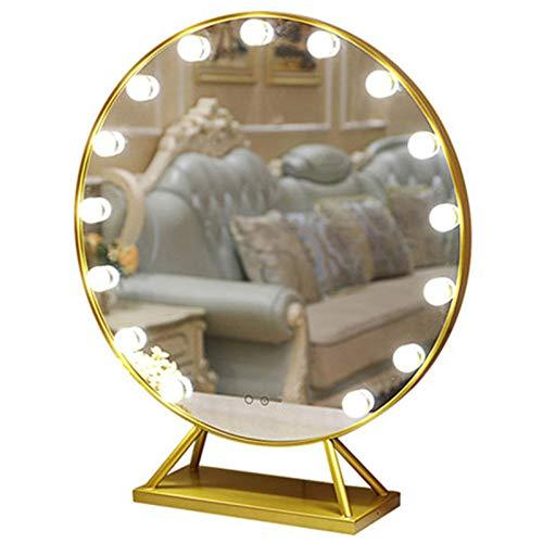 ERM Makeup Mirror Dressing Mirror Desktop Large Mirror Desktop Light Dressing Table Mirror Bathroom Toilet Mirror Bath Mirror,Gold-Large