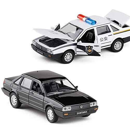 ERQINGX Model Decoration 1:32 High Simulation Volkswagen Wagon Alloy Pull Back Police Car Model With Light Sound Santana Metal Diecasts Toy Car