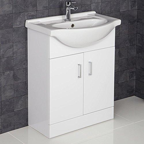 Essentials 650mm Floorstanding Bathroom Vanity Unit & Basin Sink Gloss White Tap + Waste