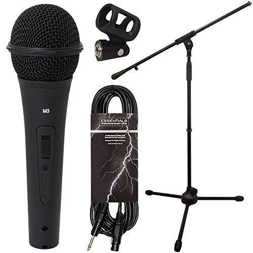 Essentials Microphone Starter Kit. Includes Stand, Mic, Clip, XLR to Jack Cable and Carry Case
