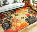 "EUCH Contemporary Boho Retro Style Abstract Living Room Floor Carpets,Non-Skid Indoor/Outdoor Large Area Rugs,75""x98"" Lotus"